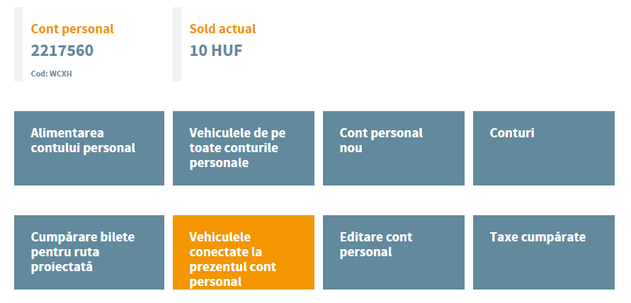 vehicule conectate la contul personal